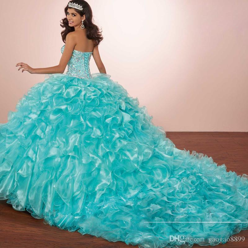 Masquerade Ball Gown Luxury Crystals Princess Puffy Quinceanera Dresses Turquoise Ruffles Vestidos De 15 Dress 2017 with Bolero jacket