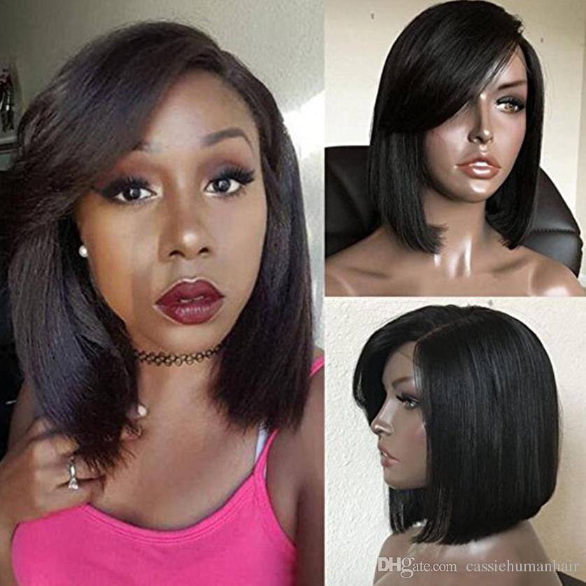 Partie de côté Sexy courte Bob Full Lace Perruques de cheveux humains avec Bangs 100% cheveux vierges brésiliens Bob Straight Lace Front perruques pour femme noire sur Sal