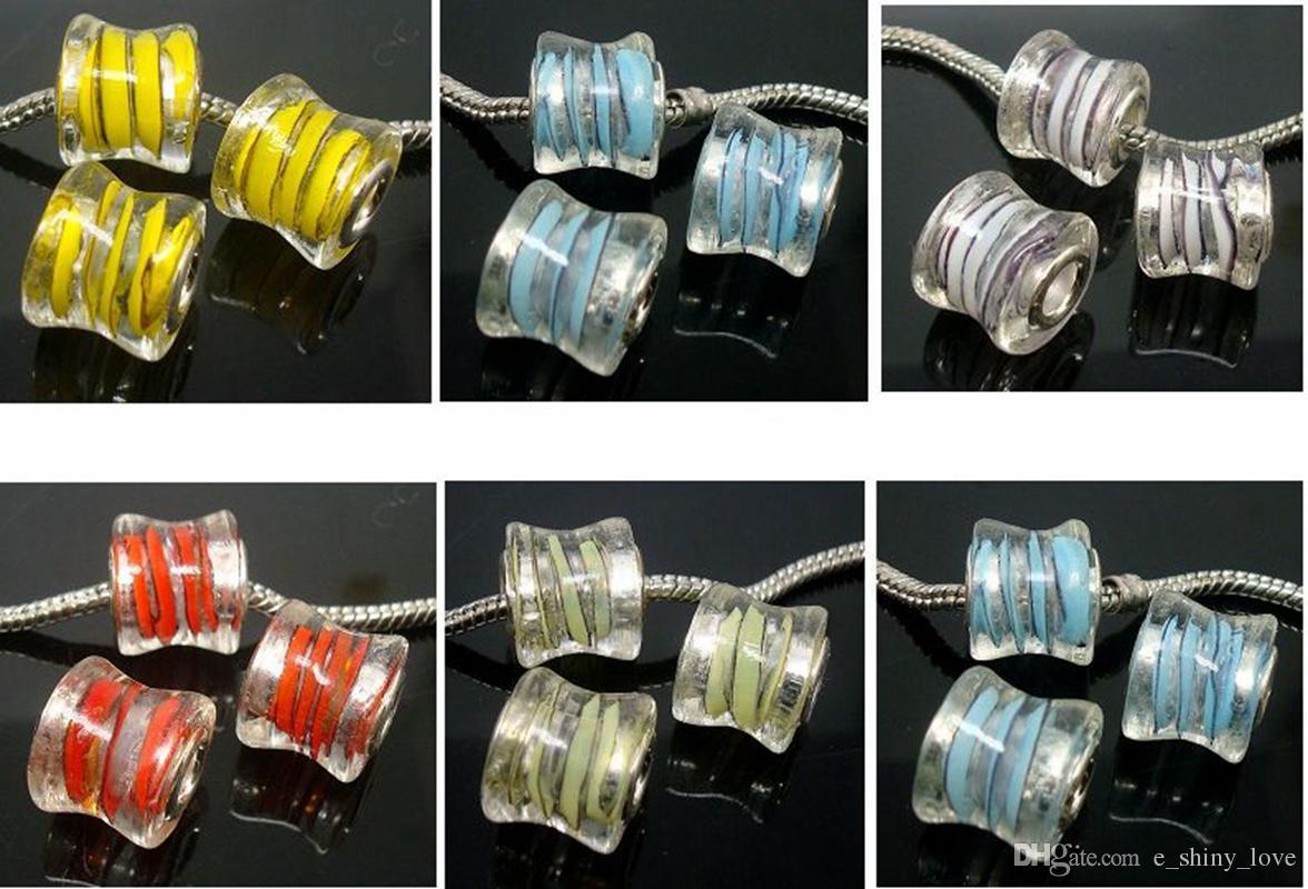 50 шт./лот смешанная мода барабан дизайн стеклянные бусины для изготовления ювелирных изделий Lampwork DIY бусины для браслет оптом оптом низкая цена