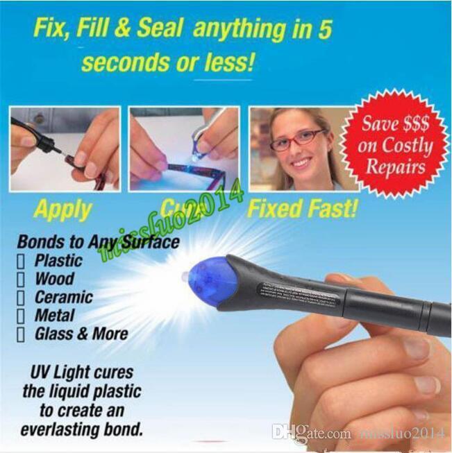 con el empaquetado al por menor 5 segundos Fix pluma de soldadura de plástico líquido ULTRAVIOLETA herramienta de curado de reparación de la luz AU pegamento de soldadura de vidrio líquido DHL FEDEX LIBRE