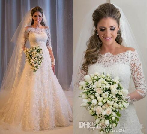 Designer Vintage Lace Wedding Dresses Off Shoulder Long Sleeves Cheap Sequins Beaded Beach Backless Bridal Gowns 2016 new HT111