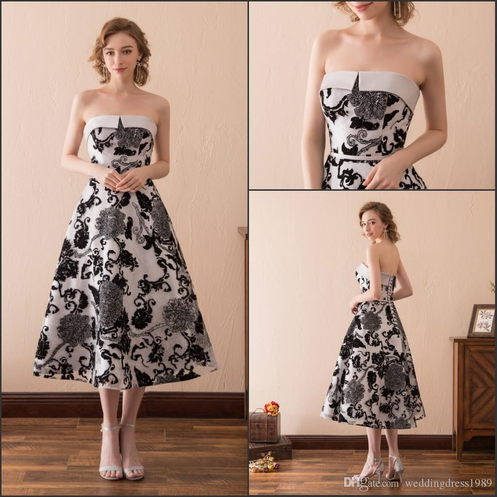 Charming Strapless Print Black White Evening Dresses Gowns Tea ... 0586367a6