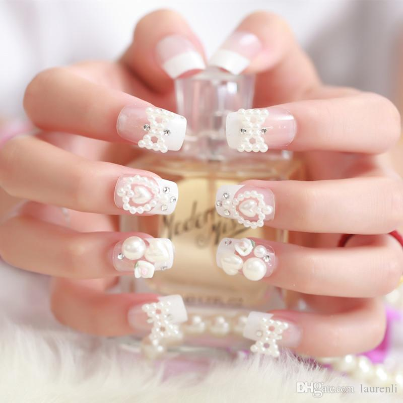 White Wedding Nail Art: Super Beauty Wedding Nails White Long Square Pearl With