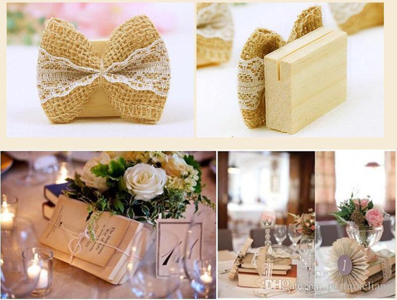 Leinen Spitze Bogen Tischkartenhalter Hochzeit Dekoration Geschenk Mittelstücke Decoracao Casamento Tischnummer Halter ZA5368
