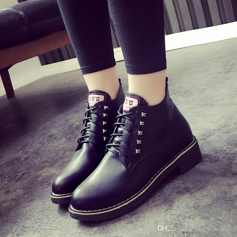 Students high-top boots Martin boots female winter female Korean plus velvet boots lace up round flat slip shoes #2118