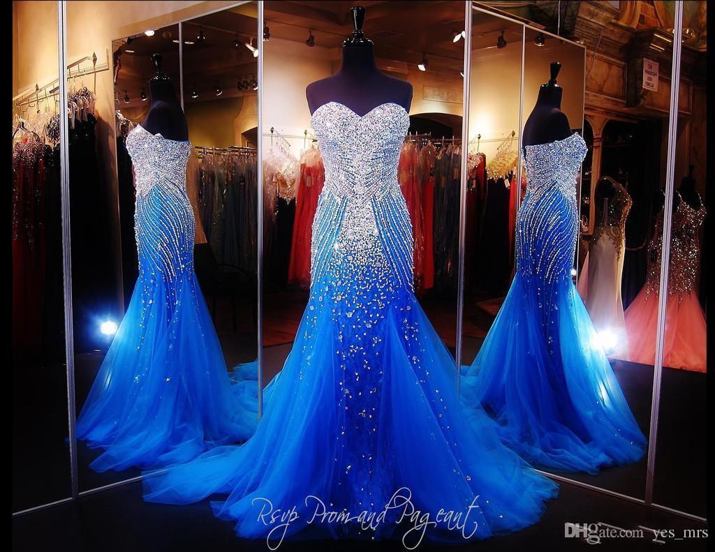 2020 핫 블링 섹시한 이브닝 드레스는 연인 크리스탈 주요 구슬 로얄 블루 얇은 명주 그물 긴 지퍼로 돌아 가기 정장 선발 대회 댄스 파티 파티 드레스를 착용