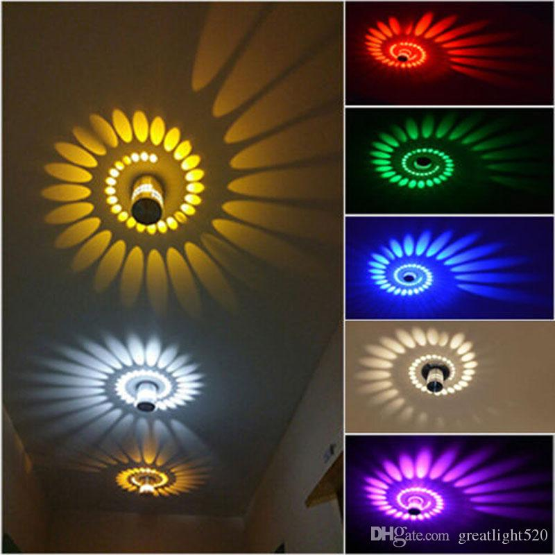 3W Spiral LED Wall Lamps Ceiling Lights Lighting Bedroom Porch ...
