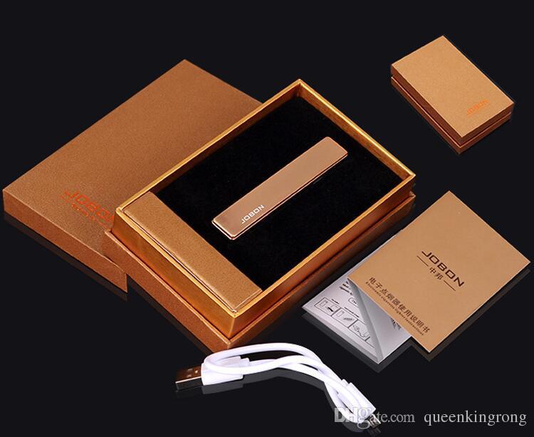 Kadın ve erkek moda Hediye Jobon için Çakmak Ultra ince Windproof Metal Çakmaklar rechangeable Sigara Sigara Elektronik Şarj Usb