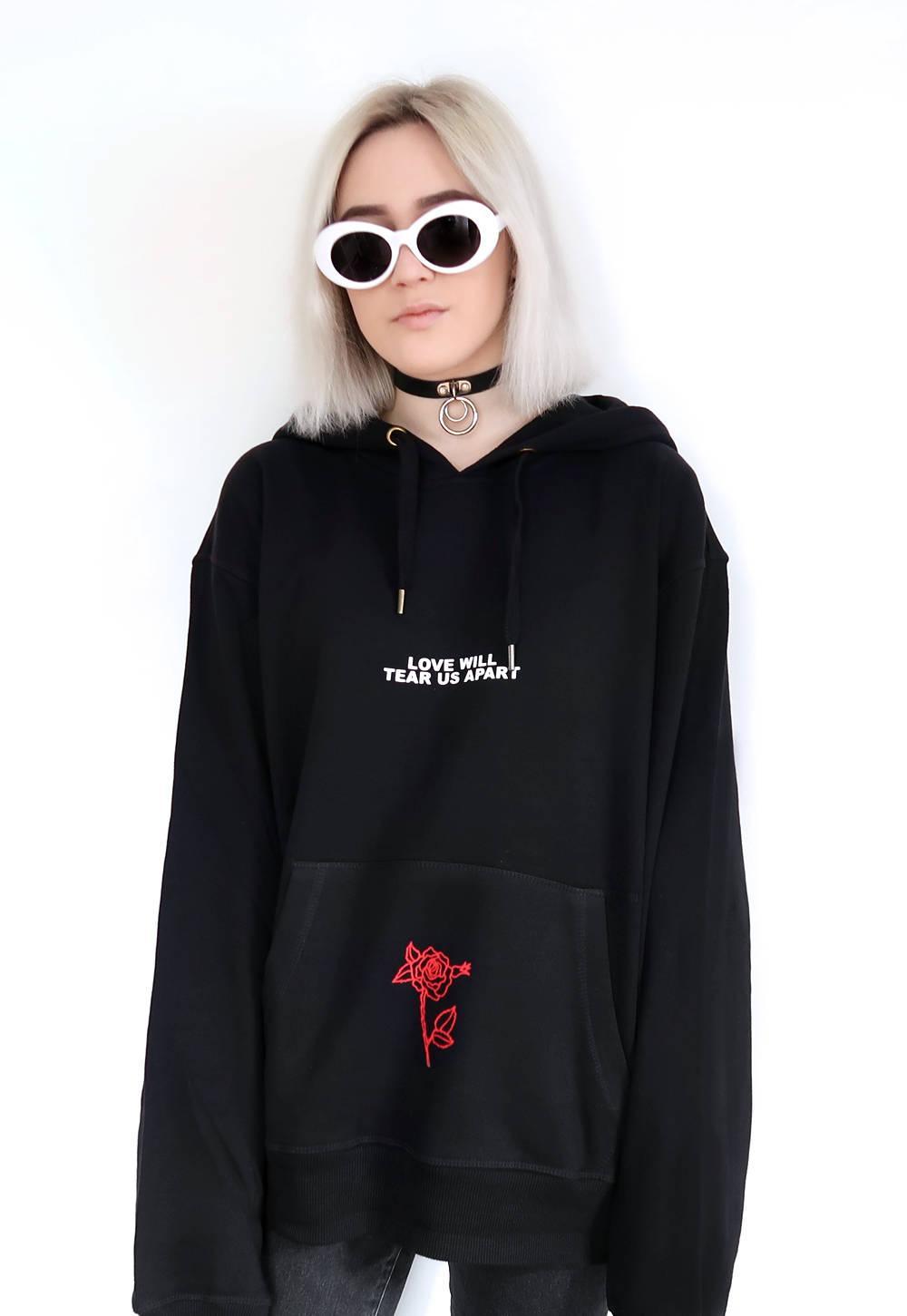 2019 Wholesale Love Will Tear Us Apart Rose Hoodie Sweatshirt Black