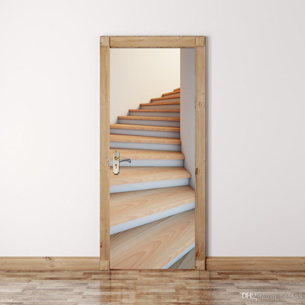 3d stairway door mural sticker stairs decorative 3d door for Door mural stickers