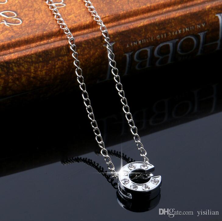 Brand New Diamond Diamonds Afabet Ozdoby A-Z Proste 26-letni naszyjnik damski P004 Arts and Crafts Wisiorek z łańcuchem