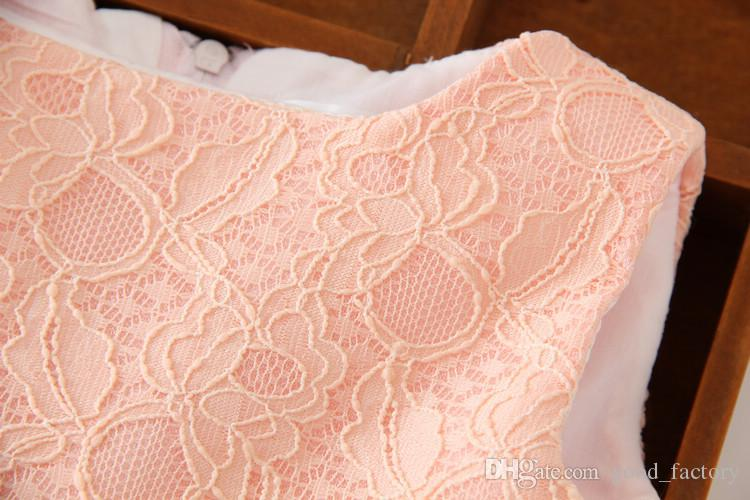 summer party prom clothing princess kids' outfits baby girl clothes evening dress princess children one-piece dresses lace sleeveless bowtie