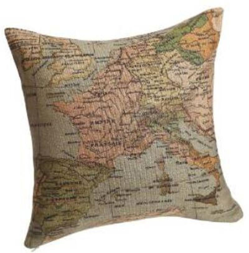 "World Map Cotton Linen Decorative Throw Pillow Case Cushion Cover, 18"" x 18"" for sale free shipping"