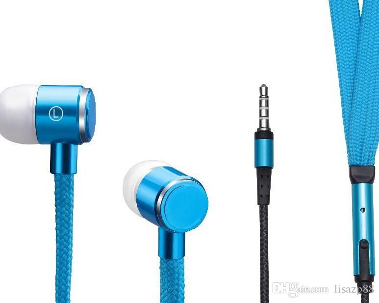 New Cool Design Cloth Earbud with Mic Shoelace Earphone In ear Headphones 3.5mm for MP3 mobile phone