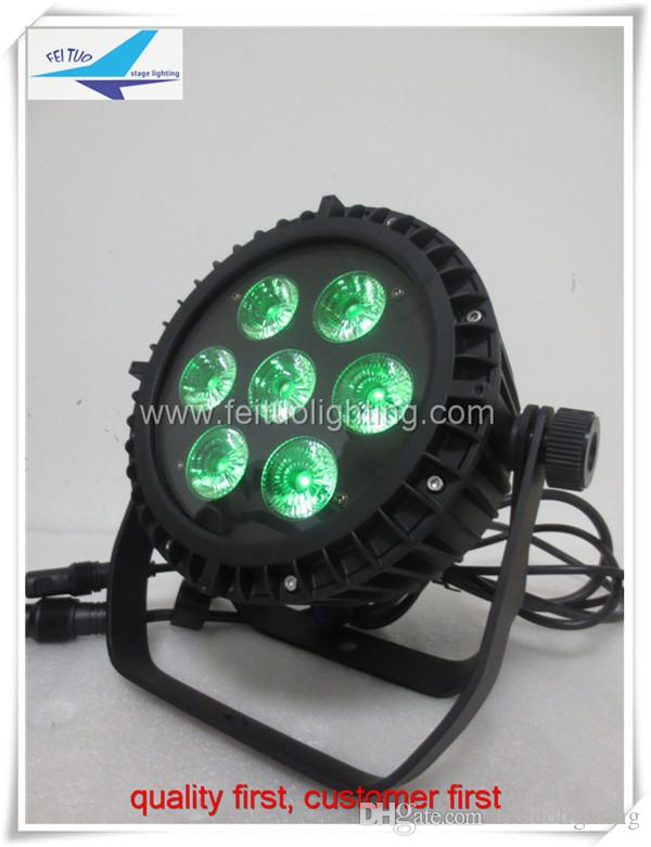 road case Outdoor Use led par can lights 7x10w waterproof ip65 par64 rgbw 4in1 flat par from China