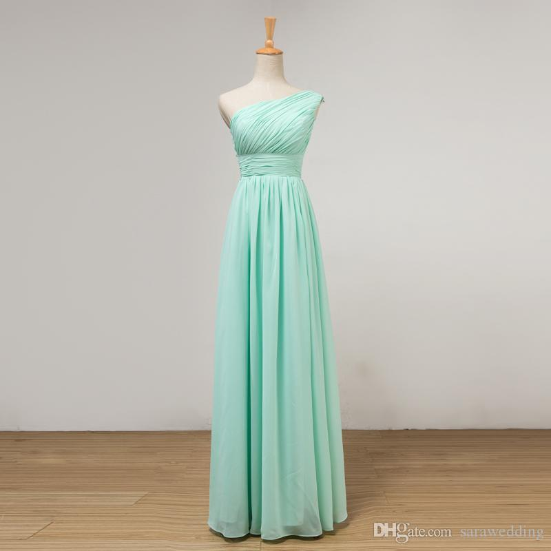 Mint Green Long Chiffon Bridesmaid Dress Lace Up 2019 Pleated Junior Bridesmaid Dresses Floor Length 100% Real Pictures