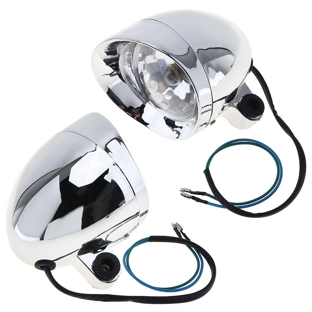 En gros / set 10W moto universelle phares moto rétro balle antibrouillard lumière auxiliaire pour Harley MOT_21Q