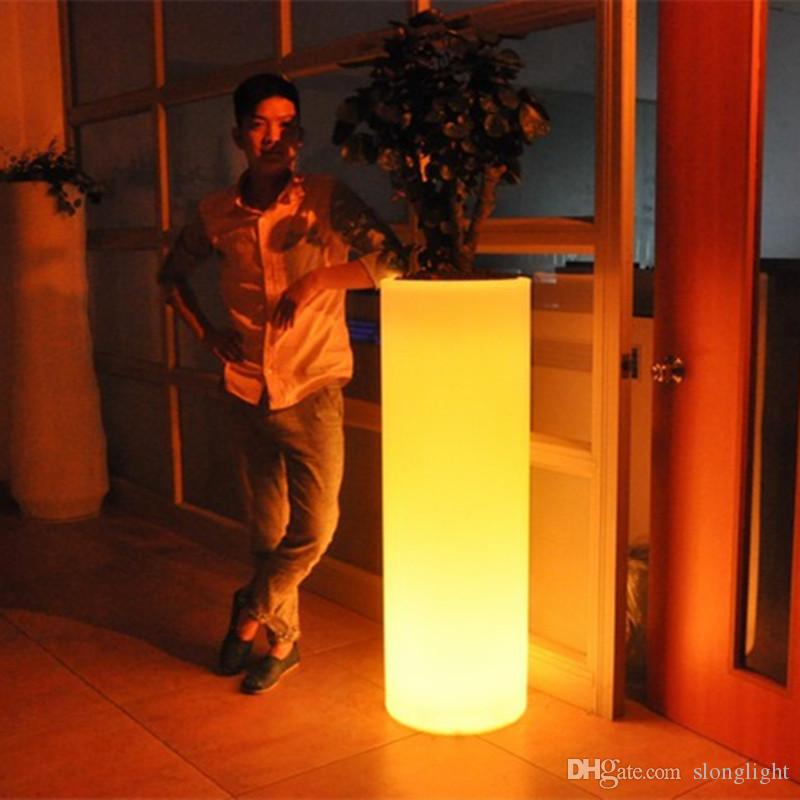 Outdoor H75cm multi-color illuminated Champagne Cooler LED Accu Ice Bucket holder rechargeable LED Glow flower pot