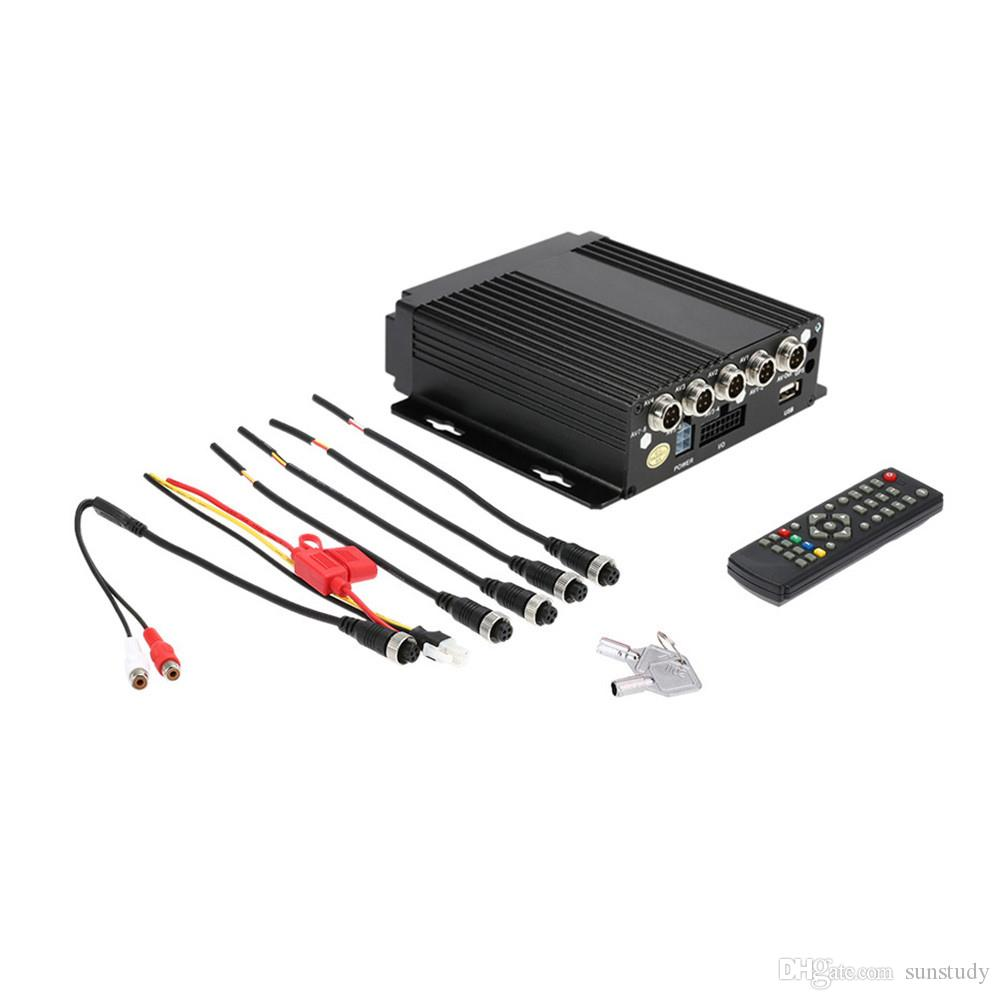 MINI Realtime 4CH Auto Mobile DVR Auto Video Recorder Fahrzeug Camcorder Auto DVD Kamera Fahren Recorder Fernbedienung Enccrption