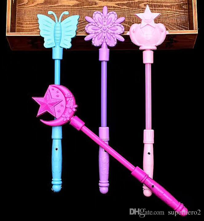 Flashing Light Up Sticks Magic LED Wands Batons DJ Fairytale Princess Costume Fancy Dress LED Glow Star Crown Buttery Moon Wand kids toy