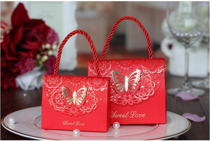 Butterfly Flower Candy Boxes Wedding Favors Portable Gift Box European Style Handheld Wedding Party Favor Boxes