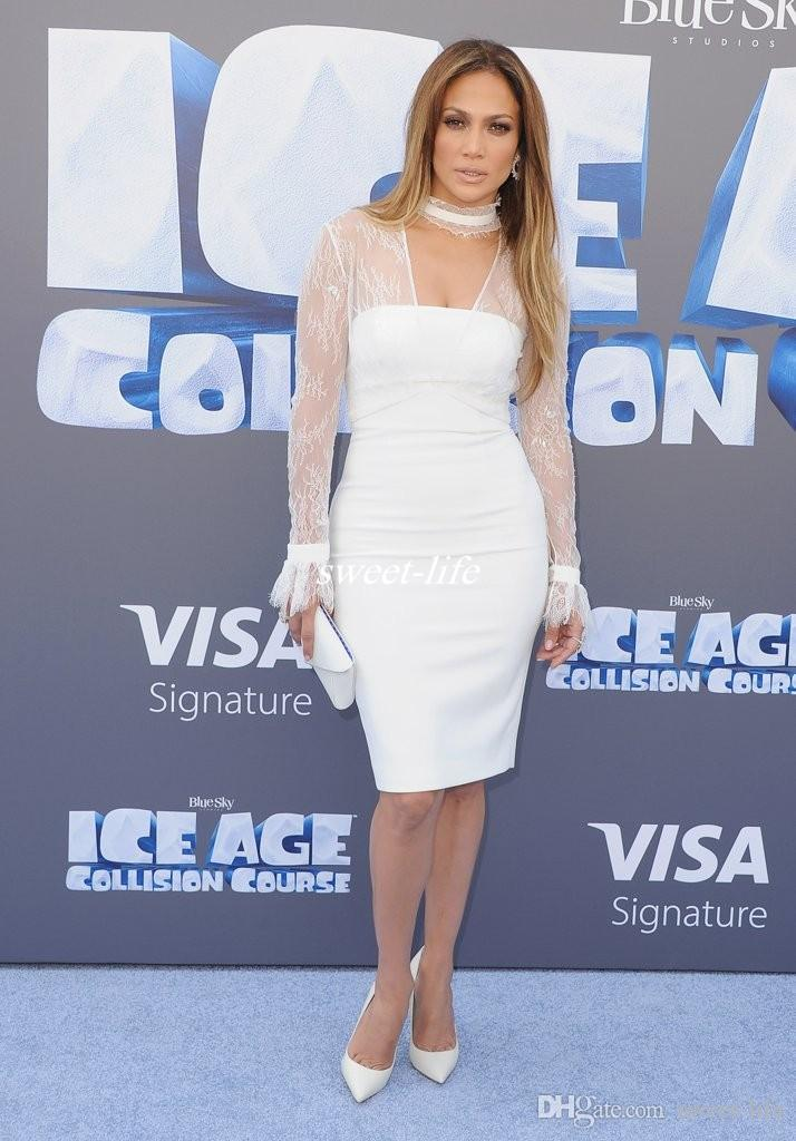 Sexy White Sheath Celebrity Dresses Sheer Long Sleeves Lace Halter Neck Sheath Knee Length 2016 Cheap Women Formal Wear Party Cocktail Dress