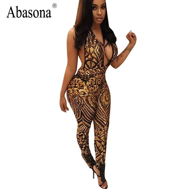24431e93a3 2019 Wholesale Abasona Sequins Deep V Neck Bodycon Jumpsuit Romper Halter  Backless Slim Rompers Womens Jumpsuit Summer Sexy Club Overalls From Freea