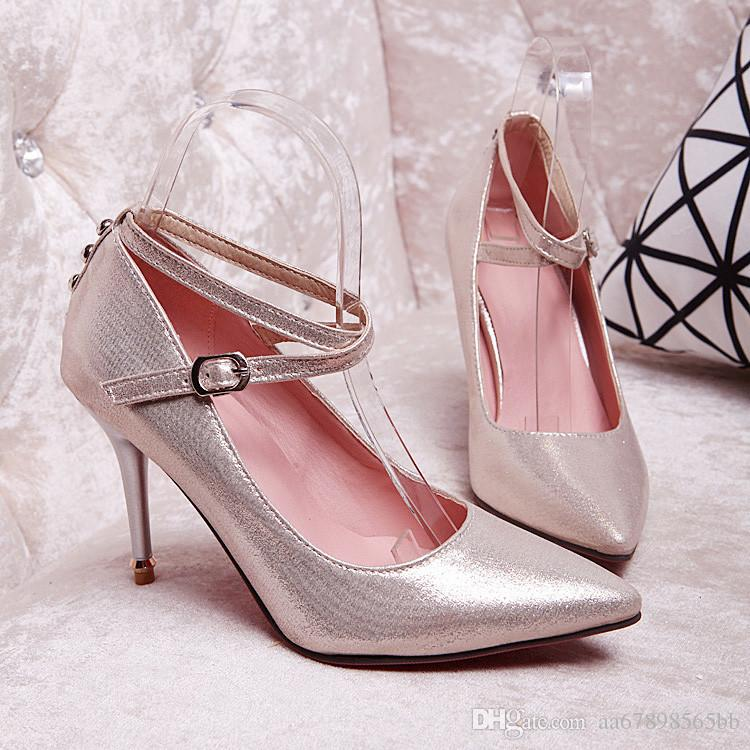 Pumps Women Sex Pointed Toe Ankle Strap Stiletto High Heels ...