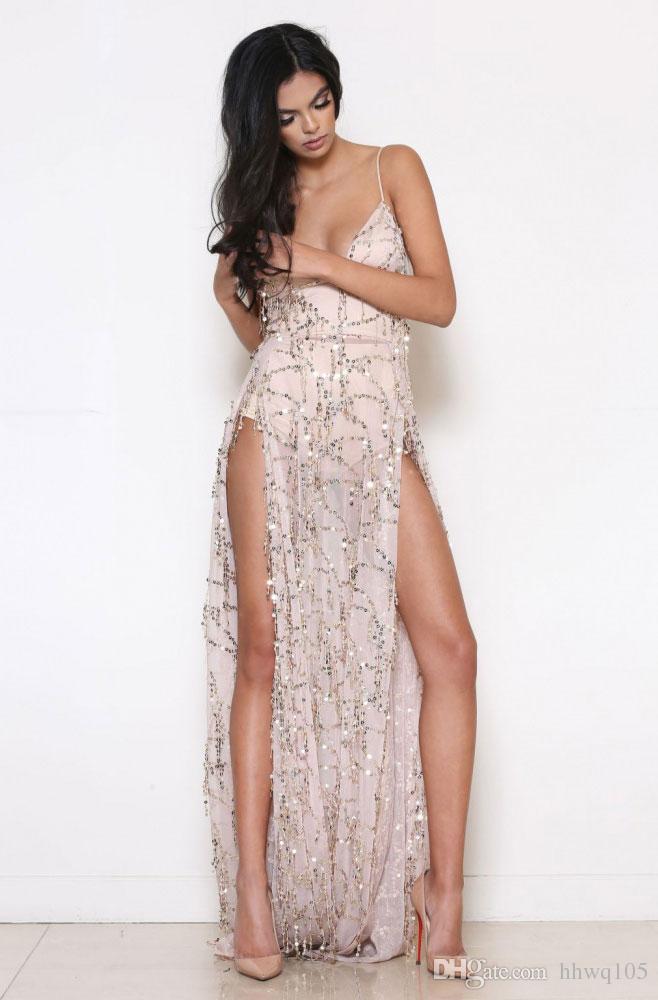 Neue Ankunft Pailletten Fransen Maxi Prom Kleider V-Ausschnitt Ärmellos Split Lange Formale Abendkleid Schwarz Gold Runway Kleid Clubwear LJF0808
