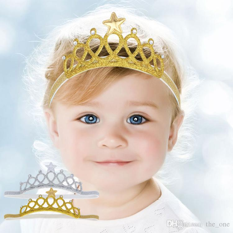 Newborn Baby Girls birthday crown Headbands Photography Props Infant Baby Headband hair Accessories gold silver 2 colors available
