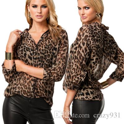 aec06930707b3 Wholesale Women Blouse Leopard Print Shirt Long Sleeve Top Loose ...