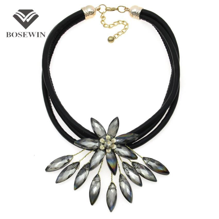 fashion Latest Crystal Flower Necklace For Women Handmade Accessories Multi Black Leather Chain Choker Statement Jewelry CE4152