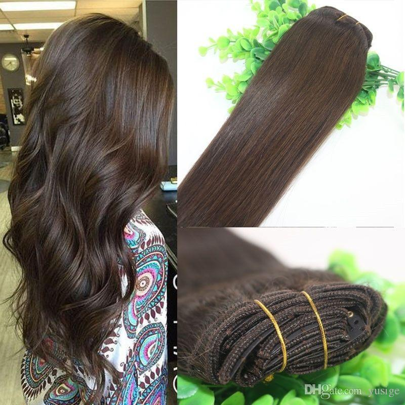 Wholesale factory price remy clip in hair extensions 70gpacks wholesale factory price remy clip in hair extensions 70gpacks full head brazilian human hair extensions clip in drak brown human remy hair extensions remy pmusecretfo Images