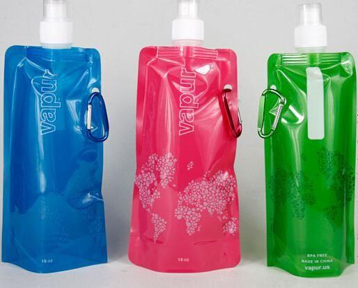 Venta al por mayor 480 ml botella de agua plegable Portable plegable deportes botella de agua bolsa de agua vejiga de agua envío gratis