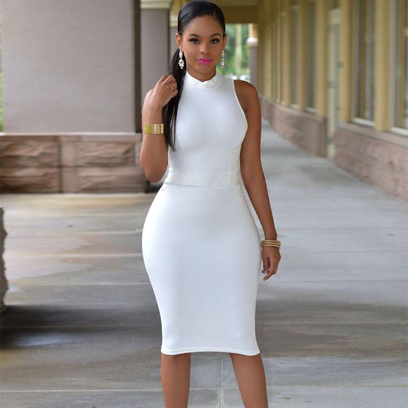 2018 Summer Sleeveless Midi Bodycon Dress Sexy Women Dress Club Wear  Elegant Mesh OL Dresses Solid Tight Sexy Halter Pencil Skirt UK 2019 From  Louisa92 60f0e7d0c