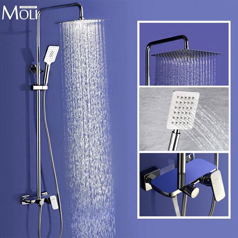 Wall Mounted Rain Shower Set Luxury Square Shower Head 8 10 12 ...