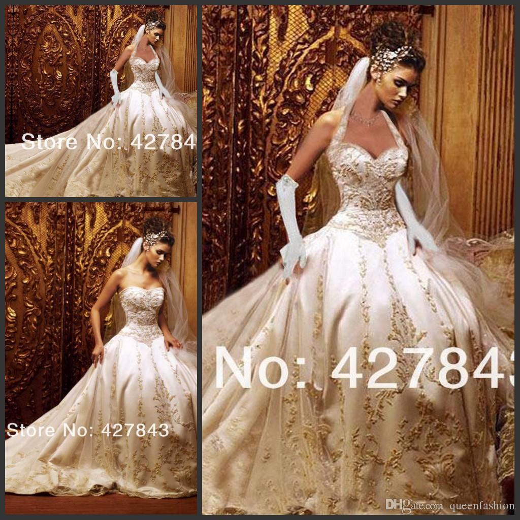 Discount Sweetheart Ivory/White Satin With Gold Embroidery