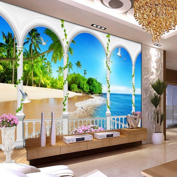 3d European Roman Pole Beach TV Wallpaper Large Wallpaper Bedroom Sofa  Living Room Wallpaper Arch feifan