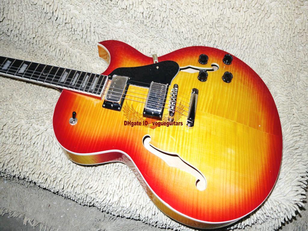 Custom Shop 137 Jazz chitarra elettrica chitarra corpo cavo IN Cherry burst Siberian Tiger Spedizione gratuita A111119