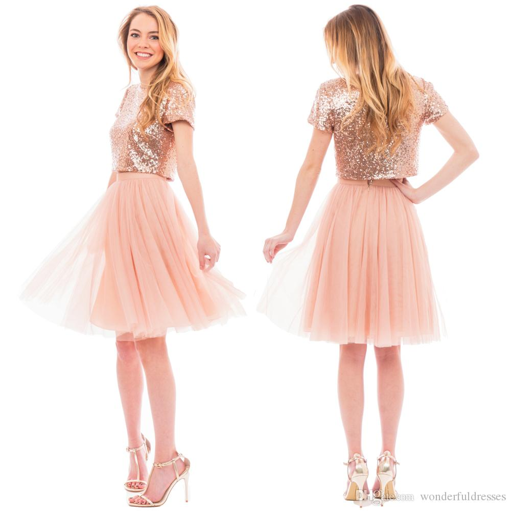 Blush pink two pieces junior bridesmaid dresses short capped see larger image ombrellifo Images