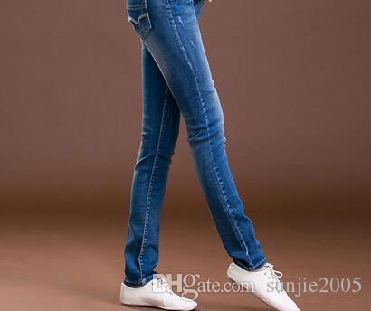 Taille élastique Jeans Pantalons Jeans Pantalons Grossesse Vêtements Automne / Hiver 2017 Nouveau Femmes Enceintes Trou Pantalon Maternité Plus La Taille