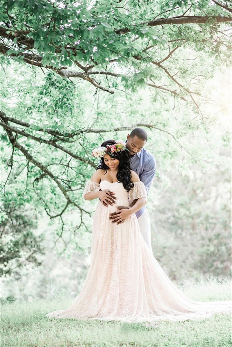 Maxi robe de maternité pour photo shoot maternité photographie accessoires vêtements de grossesse pour femmes enceintes longue robe en dentelle blanche