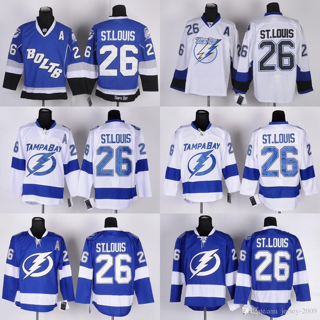2016 Men Tampa Bay Lightning Ice Hockey Jersey  26 Martin St. Louis Blue  White Black C Patch Stitched Jerseys UK 2019 From Jersey 2009 ca33a6510