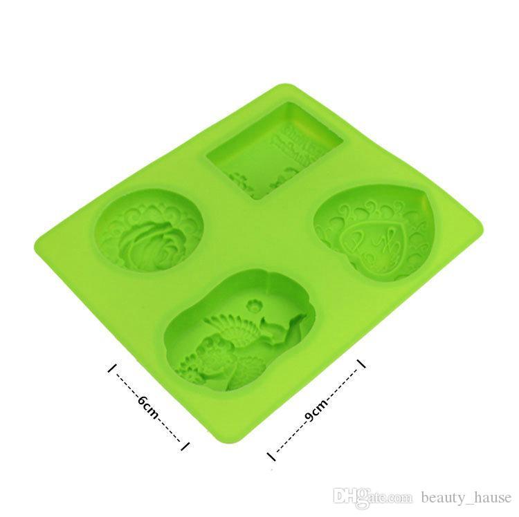 Açı ve Güller Tarzı Silikon Sabun Pişirme Tepsi Kalıp 4 Küpleri Sabun Kalıp, Bakeware Pasta Ekmek Kek Kalıpları Mutfak Pişirme Araçları