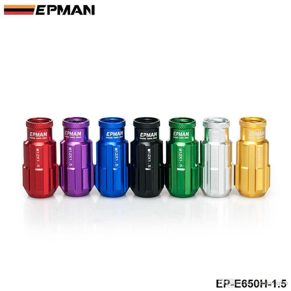 EPMAN: tuercas de orejeta de aluminio 12X1.5 MM Tornillo de extremo abierto Extenede con llave para tuercas de rueda Honda Toyota Tornillo EP-E650H-1.5
