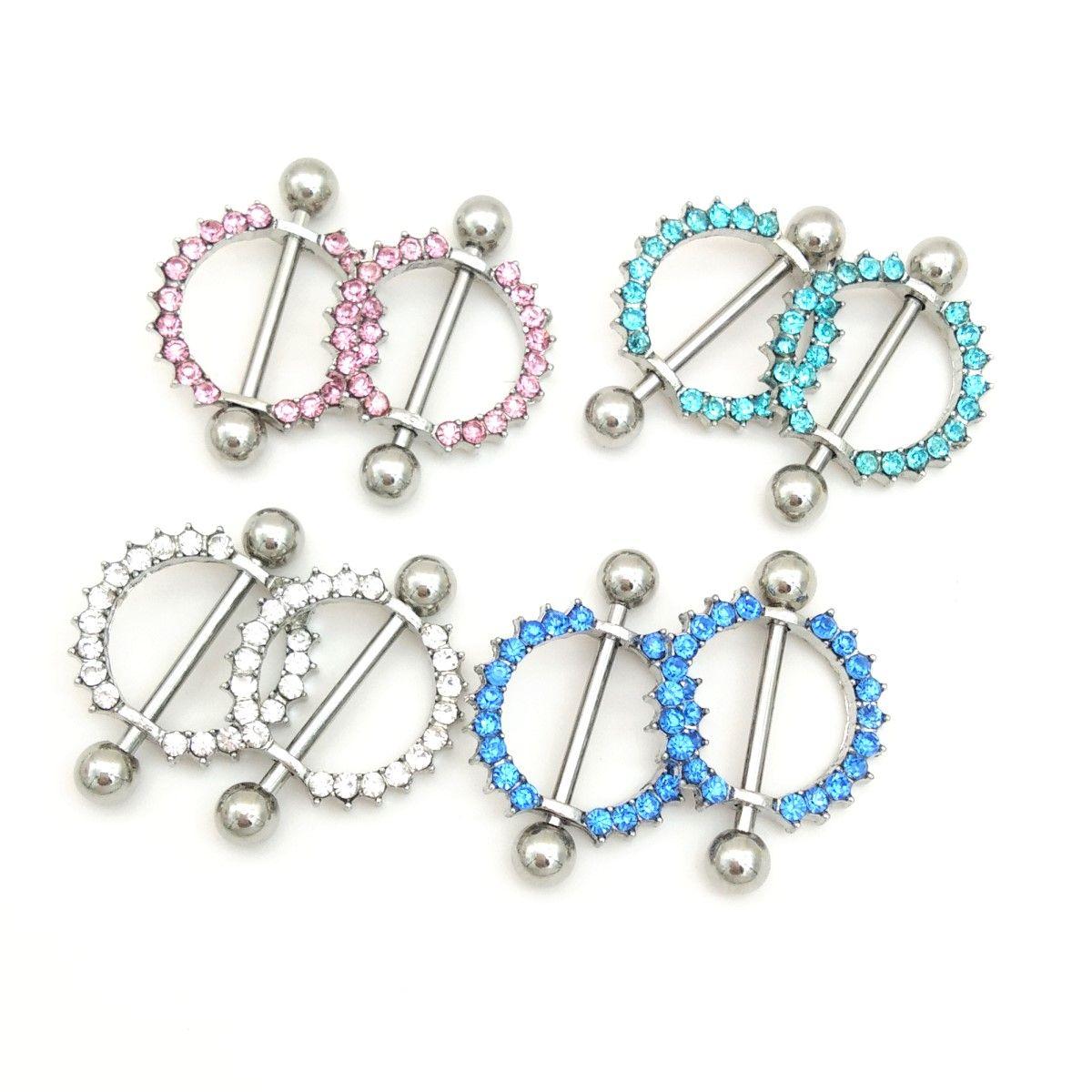 Rhinestone Nipple Piercing Fashion Body Piercing Gem Paved Circle Shield  Piercing Rings Body Jewelry for Women Girls de93ed9beb0e