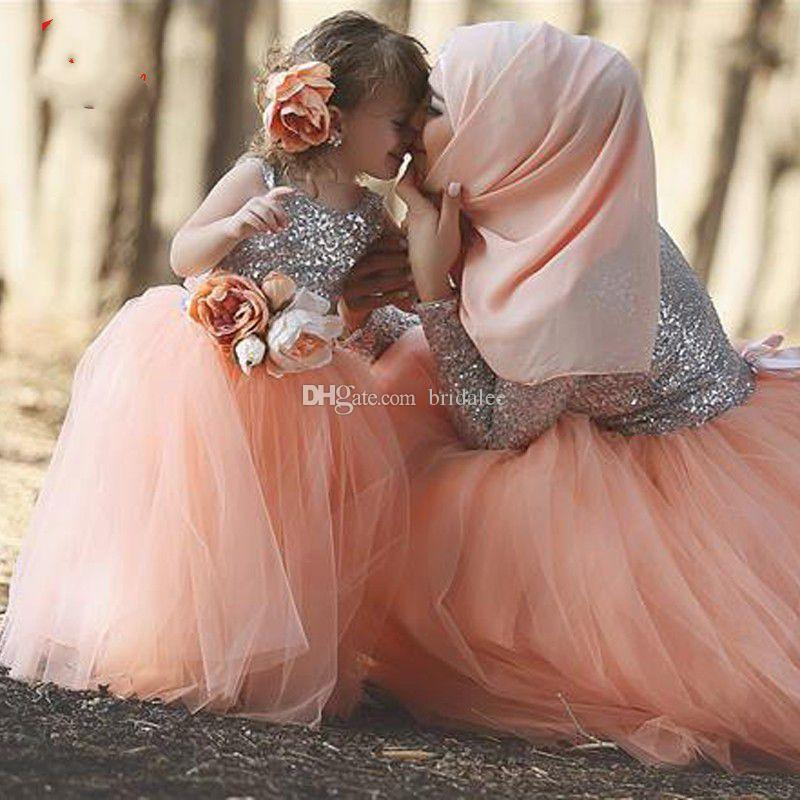 Beautiful silver sequin top peach tulle skirt ball gown floor length beautiful silver sequin top peach tulle skirt ball gown floor length flower girl dresses 2017 matching mother and daughter dresses flowers girls dresses mightylinksfo