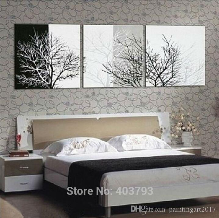 Black White Tree Abstract Hand Painted Wall DECOR Art Oil Painting Canvas Art Home Decoration