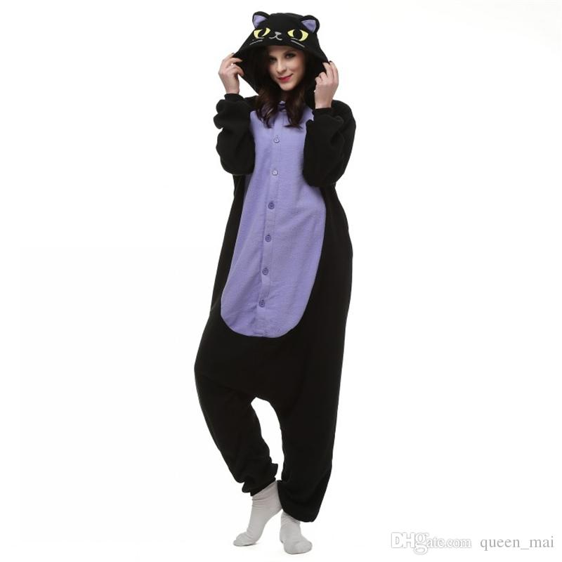 9e029d4c Japan Anime Cosplay Pajamas Animal Midnight Cat Kitty Night Black Cat  Kitten Kigu Cosplay Costume Unisex Adult Onesie Sleepwear Cat Jumpsuit  Halloween Theme ...