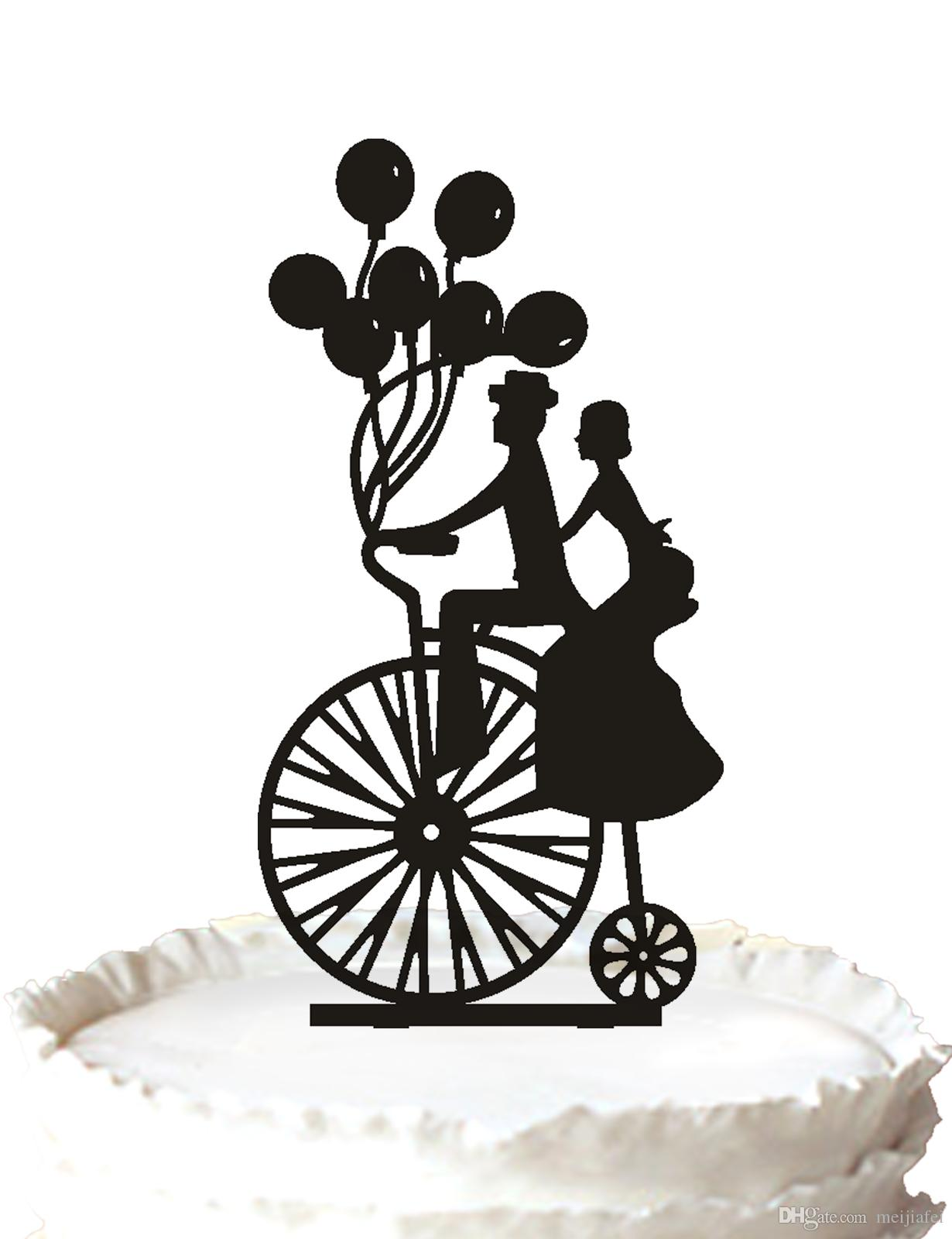2018 Bride And Groom On The Bike Wedding Cake Topper,Silhouette With ...